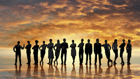 Large group of business people standing in line photo