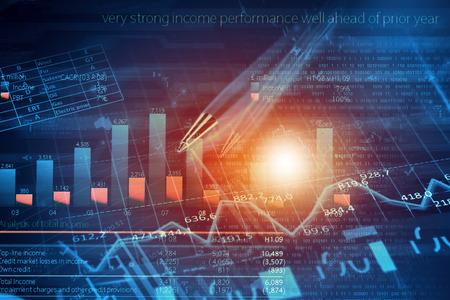 contabilidad financiera: Imagen de fondo con gráficos financieros y gráficos en telón de fondo de medios Foto de archivo