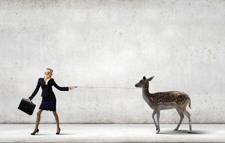 positivismo: Joven empresaria bonita celebraci�n ciervos en plomo