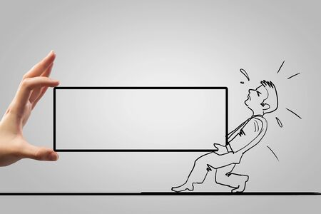 man carrying box: Caricature of overloaded man carrying box with effort Stock Photo