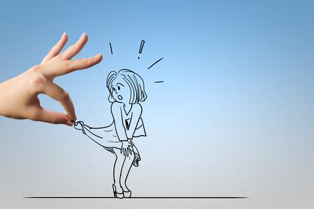 abuso sexual: Caricatura de mujer asustada atacado por el jefe