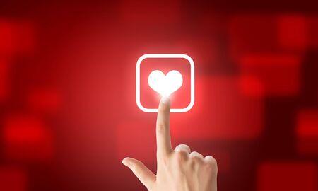 acquaintance: Close u of human hand pushing application icon