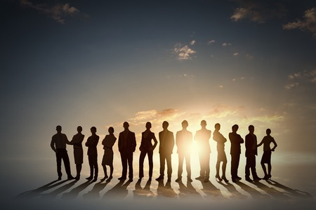 large group of business people: Large group of business people standing in line Stock Photo