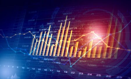Background image with financial charts and graphs on media backdrop