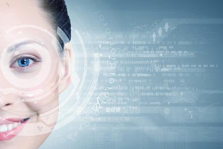 codigo binario: Cierre ojo de la mujer con iconos digitales Foto de archivo