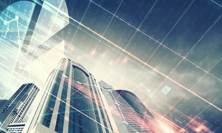 bienes raices: Imagen digital de vista desde abajo de rascacielos