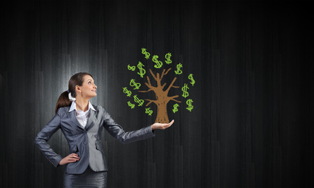 hands holding tree: Young pretty businesswoman holding drawn dollar in hand Stock Photo