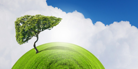 health care protection: Conceptual image of green tree shaped like human liver
