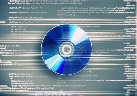 One cd disc on blue digital background