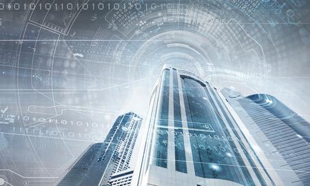 키가 마천루의 밑면의 디지털 이미지