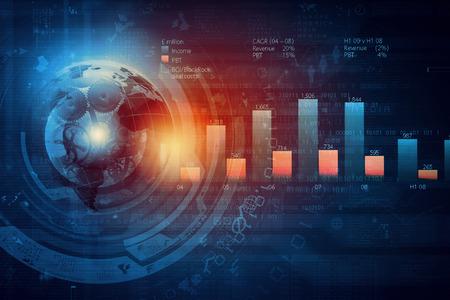 Achtergrond afbeelding met financiële tabellen en grafieken op de tafel Stockfoto
