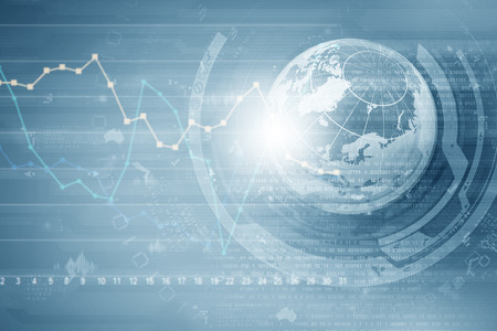 Background image with financial charts and graphs on media backdrop Banco de Imagens - 36901435
