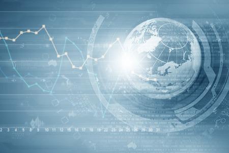 economia: Imagen de fondo con gr�ficos financieros y gr�ficos en tel�n de fondo de medios Foto de archivo