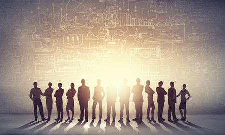 large group: Large group of business people standing in line Stock Photo