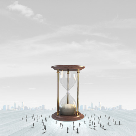 hour glass figure: Conceptual image with sandglass and silhouettes of business people around