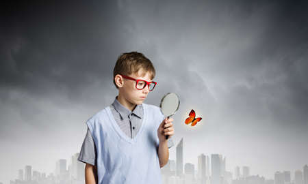 School boy examining butterfly with magnifying glass Stock Photo