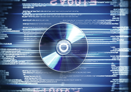 recordable media: One cd disc on blue digital background