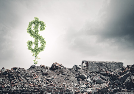 Conceptual image of green dollar sign growing on ruins photo