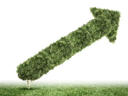 liked: Conceptual image of green plant shaped liked graph