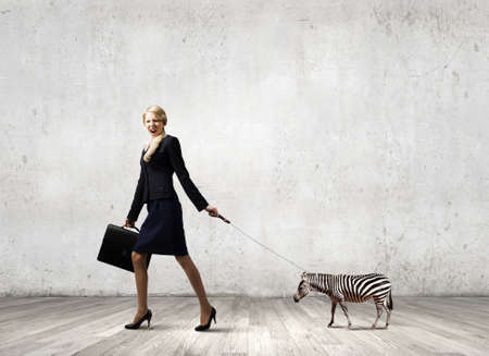 lead rope: Young pretty businesswoman holding zebra on lead