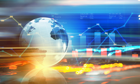 economy growth: Background digital image with Earth planet and graphs Stock Photo