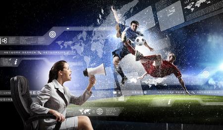 watching football: Emotional woman watching football match on 3 d tv