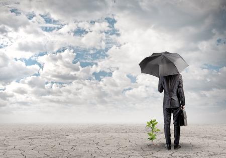 protección: Vista trasera del hombre de negocios con paraguas protegiendo brote