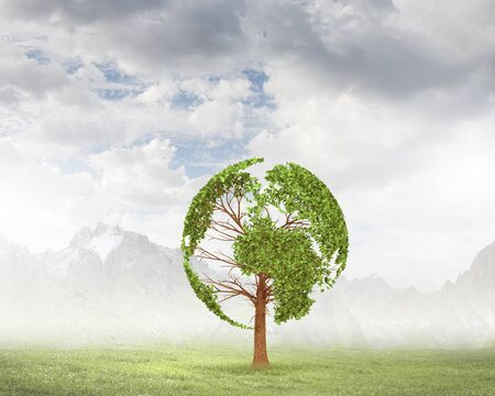 liked: Green tree shaped liked our Earth planet. Environmental concept Stock Photo