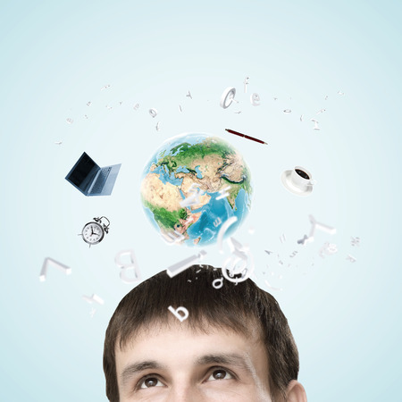Half of face of businessman with business items above head. Elements of this image are furnished by NASA photo