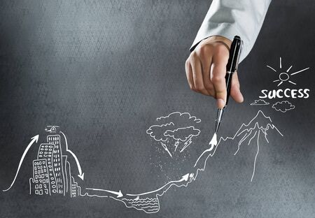 Close up of businesswoman hand drawing business sketches photo