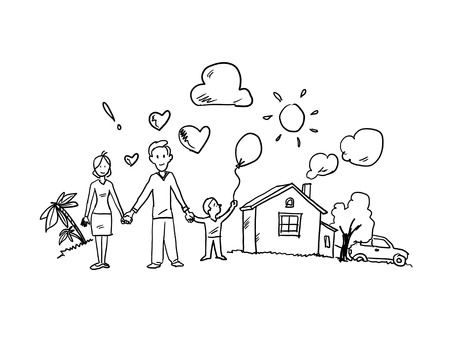 Conceptual sketch image of happy family and other life concepts photo