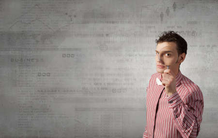 magnifying glass man: Funny image of young man looking in magnifying glass