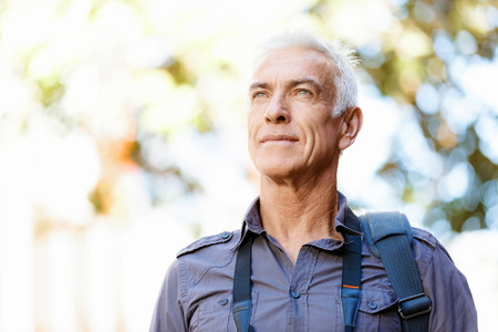 old people: Portrait of handsome man outdoors