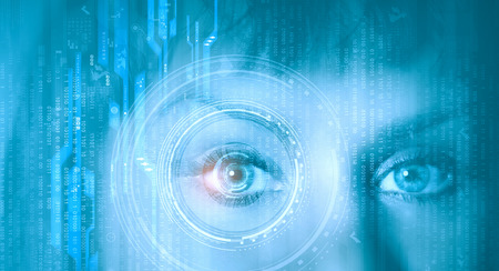 digital eye: Close up of female digital eye with security scanning concept Stock Photo