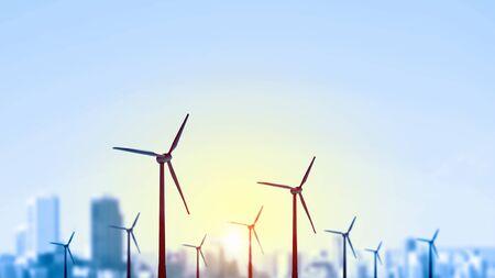 일몰 배경에 풍차와 다른 전기 전력의 개념