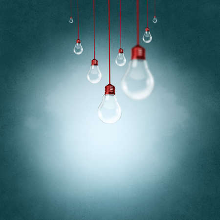 Conceptual image with light bulbs hanging from above Stock Photo