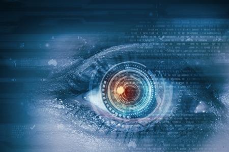 セキュリティ概念をスキャン デジタル女性の目のクローズ アップ 写真素材