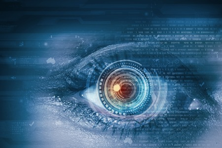 Close up of female digital eye with security scanning concept Imagens