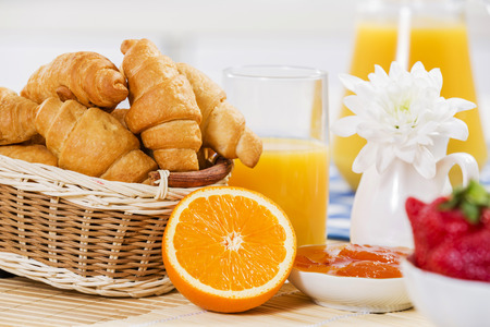 coffees: Breakfast with assortment of pastries, coffees and fresh juice