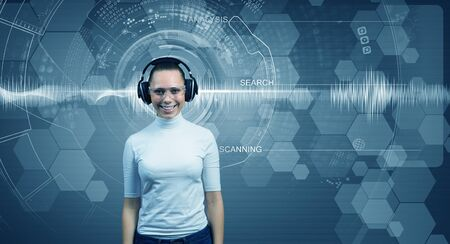 virtual assistant: Young woman wearing headphones on digital blue