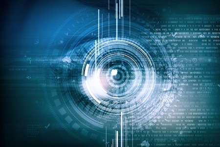 futuristic eye: Close up of female digital eye with security scanning concept Stock Photo