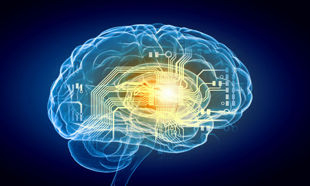 Concept of human intelligence with human brain on blue background Banque d'images