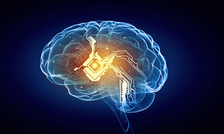 青の背景に人間の脳と人間の知性の概念 写真素材 - 41983670