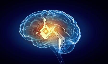 mente humana: Concepto de la inteligencia humana con el cerebro humano sobre fondo azul