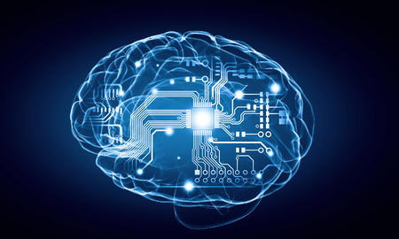 Concept of human intelligence with human brain on blue background Stock Photo
