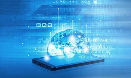 첨단 기술 배경에 휴대 전화와 현대 통신 기술 개념 스톡 콘텐츠