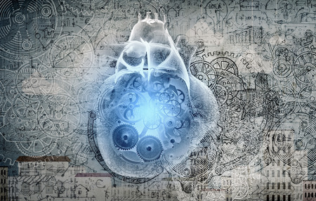 love strategy: Conceptual image with human heart and working mechanism inside