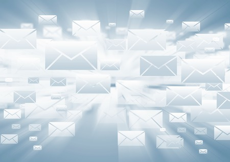 email symbol: Background with media email icons on blue