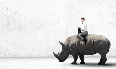 Young handsome fearless man riding huge rhino Stock Photo