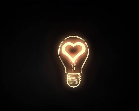 electric bulb: Heart shape in light bulb on black background